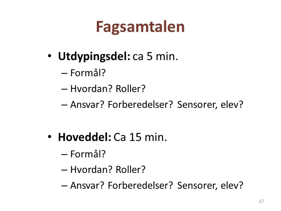 Fagsamtalen Utdypingsdel: ca 5 min. – Formål? – Hvordan? Roller? – Ansvar? Forberedelser? Sensorer, elev? Hoveddel: Ca 15 min. – Formål? – Hvordan? Ro