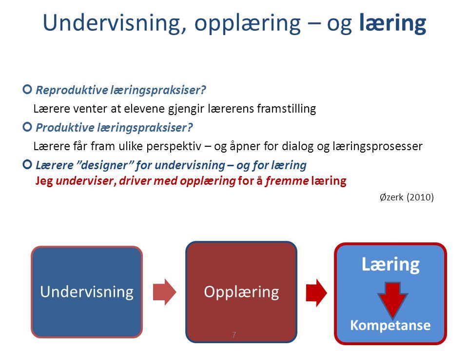 Undervisning, opplæring – og læring Reproduktive læringspraksiser? Lærere venter at elevene gjengir lærerens framstilling Produktive læringspraksiser?