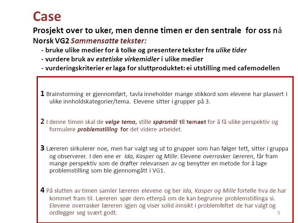 Case Prosjekt over to uker, men denne timen er den sentrale for oss nå Norsk VG2 Sammensatte tekster: - bruke ulike medier for å tolke og presentere t