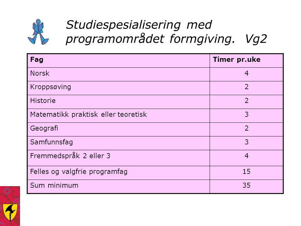 Studiespesialisering med programområdet formgiving. Vg2 FagTimer pr.uke Norsk4 Kroppsøving2 Historie2 Matematikk praktisk eller teoretisk3 Geografi2 S