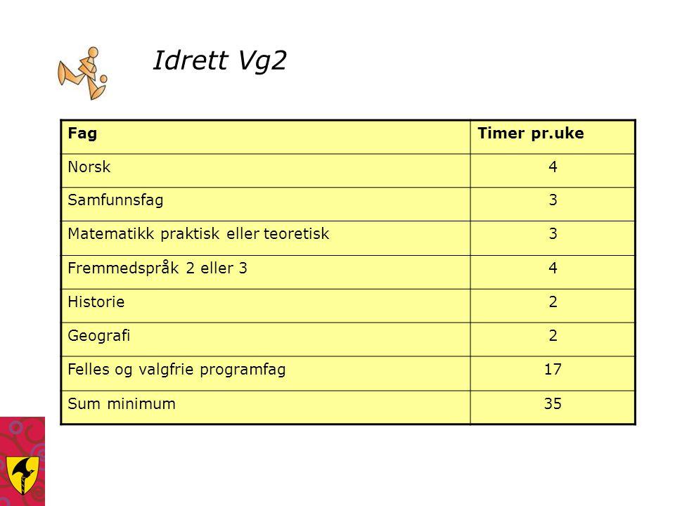 Idrett Vg2 FagTimer pr.uke Norsk4 Samfunnsfag3 Matematikk praktisk eller teoretisk3 Fremmedspråk 2 eller 34 Historie2 Geografi2 Felles og valgfrie pro