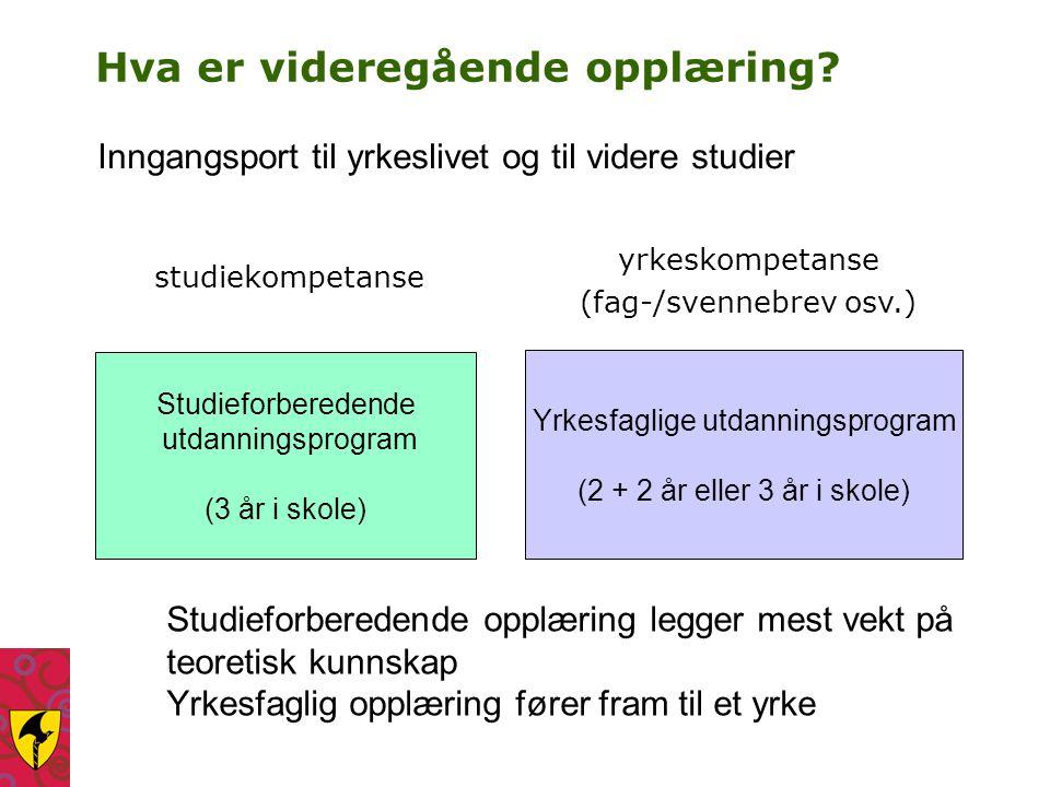 Hva er videregående opplæring? studiekompetanse Studieforberedende utdanningsprogram (3 år i skole) Yrkesfaglige utdanningsprogram (2 + 2 år eller 3 å