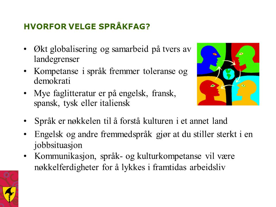 HVORFOR VELGE SPRÅKFAG? Økt globalisering og samarbeid på tvers av landegrenser Kompetanse i språk fremmer toleranse og demokrati Mye faglitteratur er