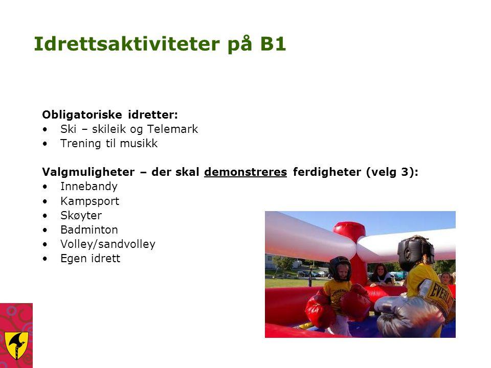 Idrettsaktiviteter på B1 Obligatoriske idretter: Ski – skileik og Telemark Trening til musikk Valgmuligheter – der skal demonstreres ferdigheter (velg