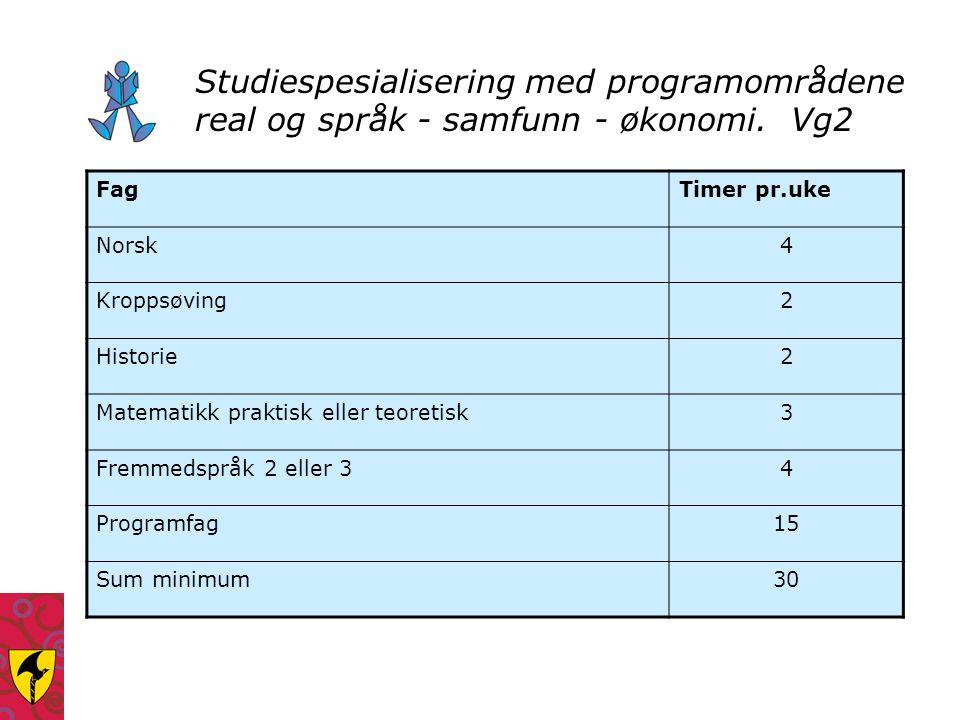 Studiespesialisering med programområdene real og språk - samfunn - økonomi. Vg2 FagTimer pr.uke Norsk4 Kroppsøving2 Historie2 Matematikk praktisk elle