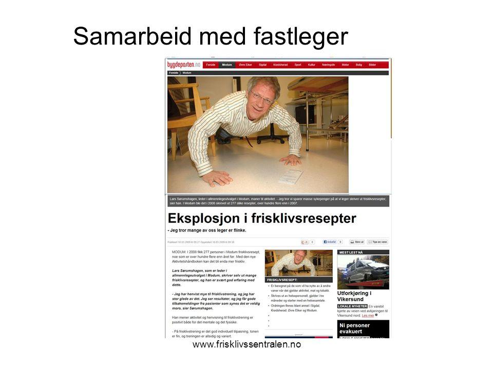 www.frisklivssentralen.no Samarbeid med fastleger