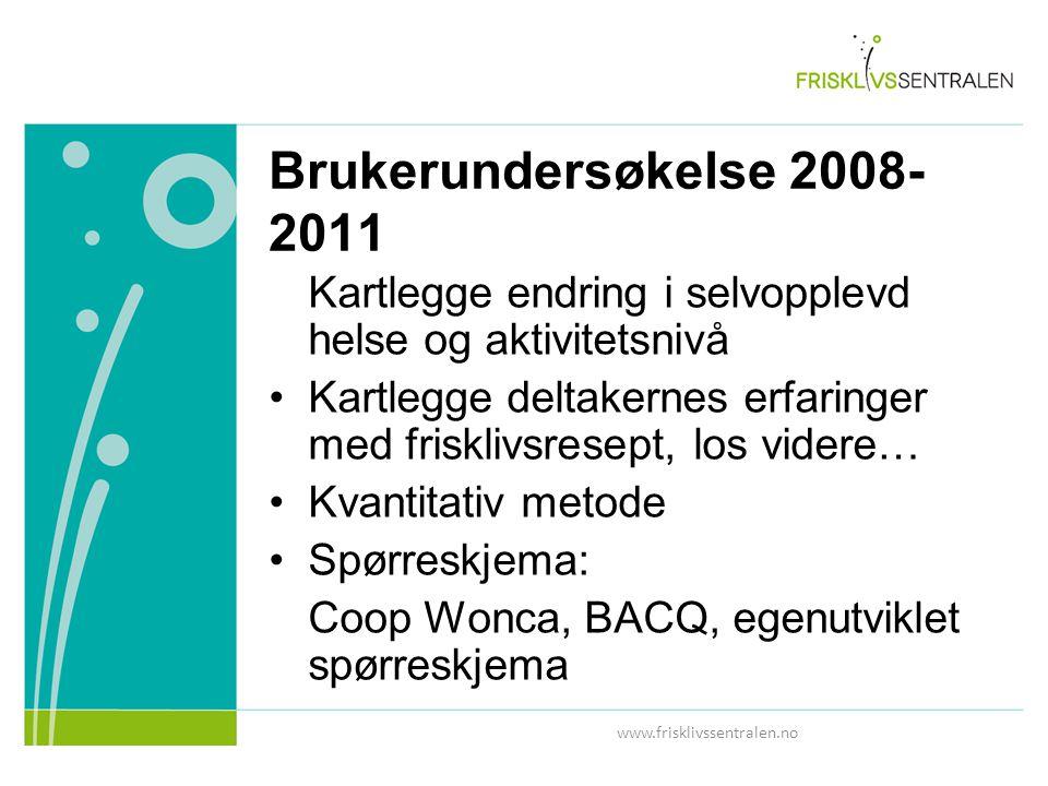 Brukerundersøkelse 2008- 2011 Kartlegge endring i selvopplevd helse og aktivitetsnivå Kartlegge deltakernes erfaringer med frisklivsresept, los videre… Kvantitativ metode Spørreskjema: Coop Wonca, BACQ, egenutviklet spørreskjema