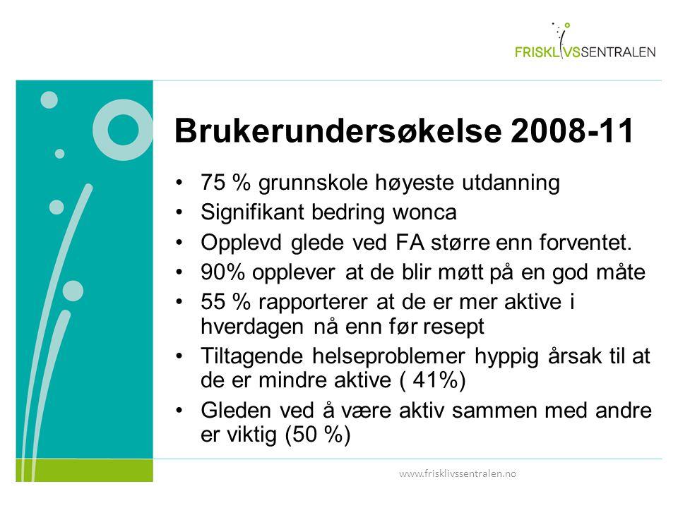 www.frisklivssentralen.no Brukerundersøkelse 2008-11 75 % grunnskole høyeste utdanning Signifikant bedring wonca Opplevd glede ved FA større enn forventet.