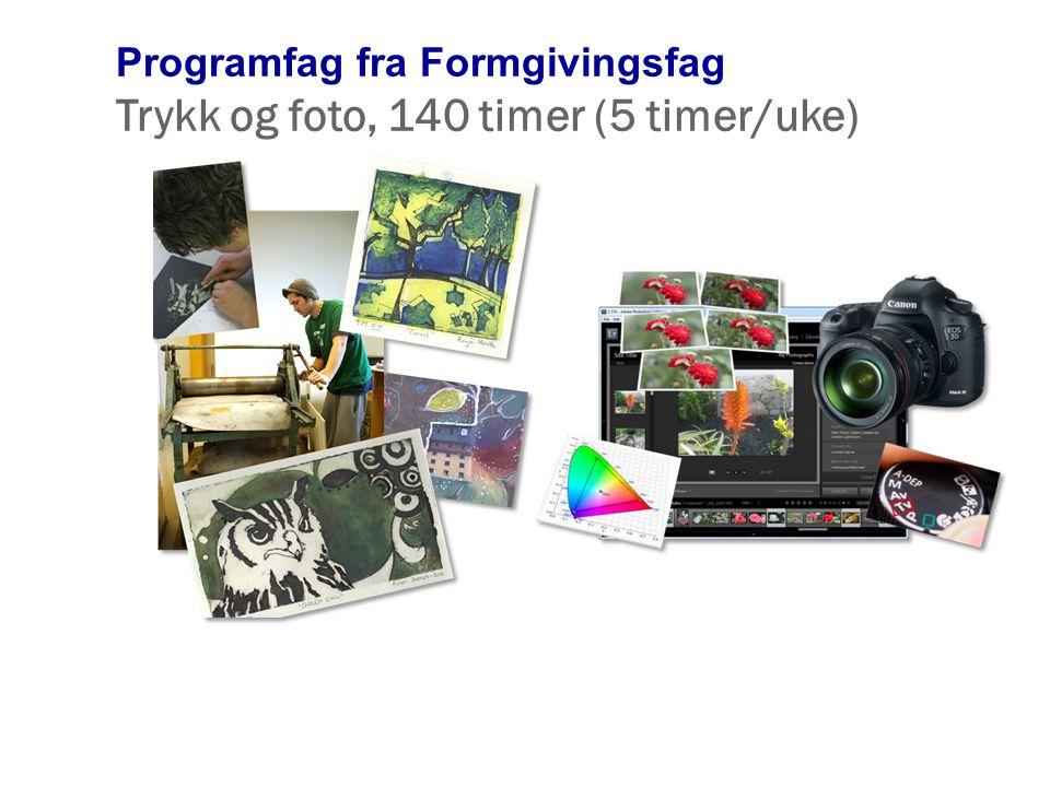 Programfag fra Formgivingsfag Trykk og foto, 140 timer (5 timer/uke)