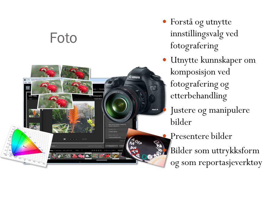 Forstå og utnytte innstillingsvalg ved fotografering Utnytte kunnskaper om komposisjon ved fotografering og etterbehandling Justere og manipulere bild