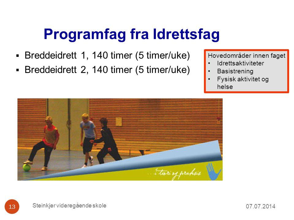Programfag fra Idrettsfag 07.07.2014 13  Breddeidrett 1, 140 timer (5 timer/uke)  Breddeidrett 2, 140 timer (5 timer/uke) Steinkjer videregående sko