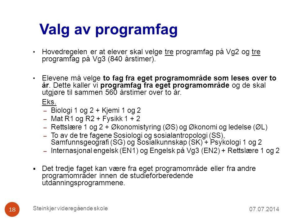 Valg av programfag 07.07.2014 18 Hovedregelen er at elever skal velge tre programfag på Vg2 og tre programfag på Vg3 (840 årstimer). Elevene må velge