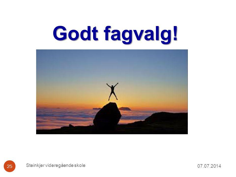 Godt fagvalg! 07.07.2014 Steinkjer videregående skole 25