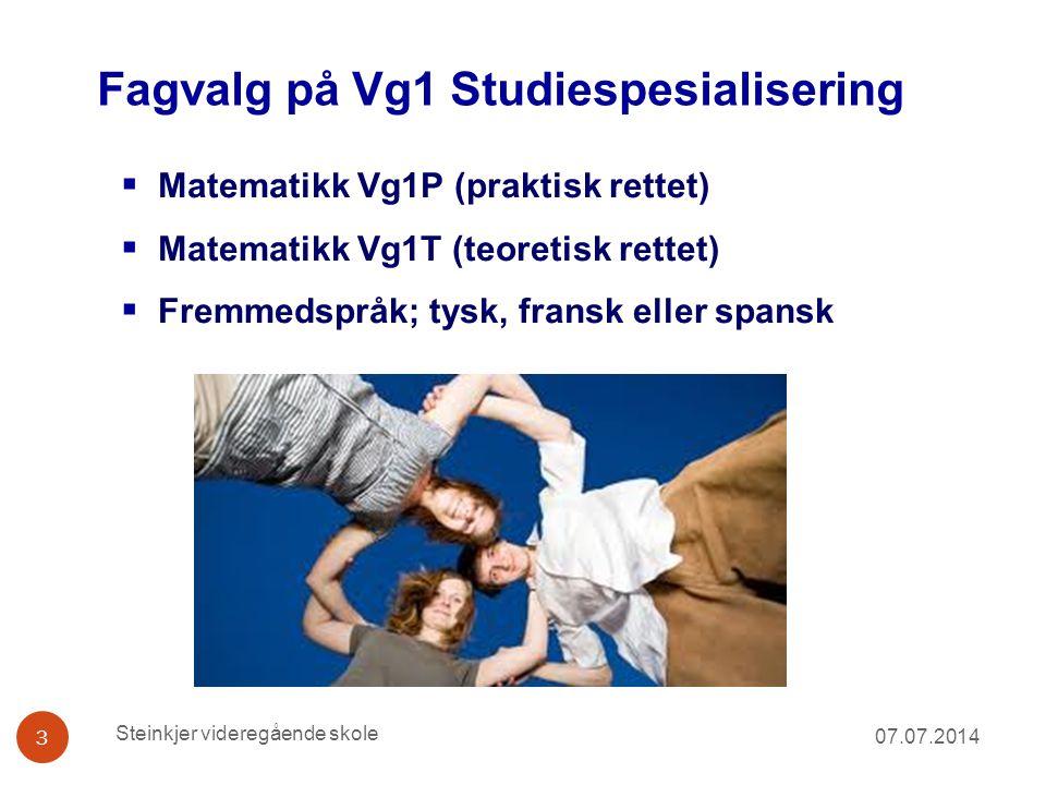 Fagvalg på Vg1 Studiespesialisering 07.07.2014 3  Matematikk Vg1P (praktisk rettet)  Matematikk Vg1T (teoretisk rettet)  Fremmedspråk; tysk, fransk