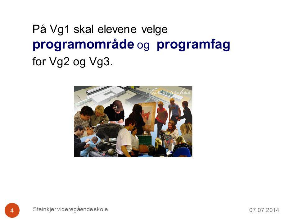 På Vg1 skal elevene velge programområde og programfag for Vg2 og Vg3. 07.07.2014 4 Steinkjer videregående skole