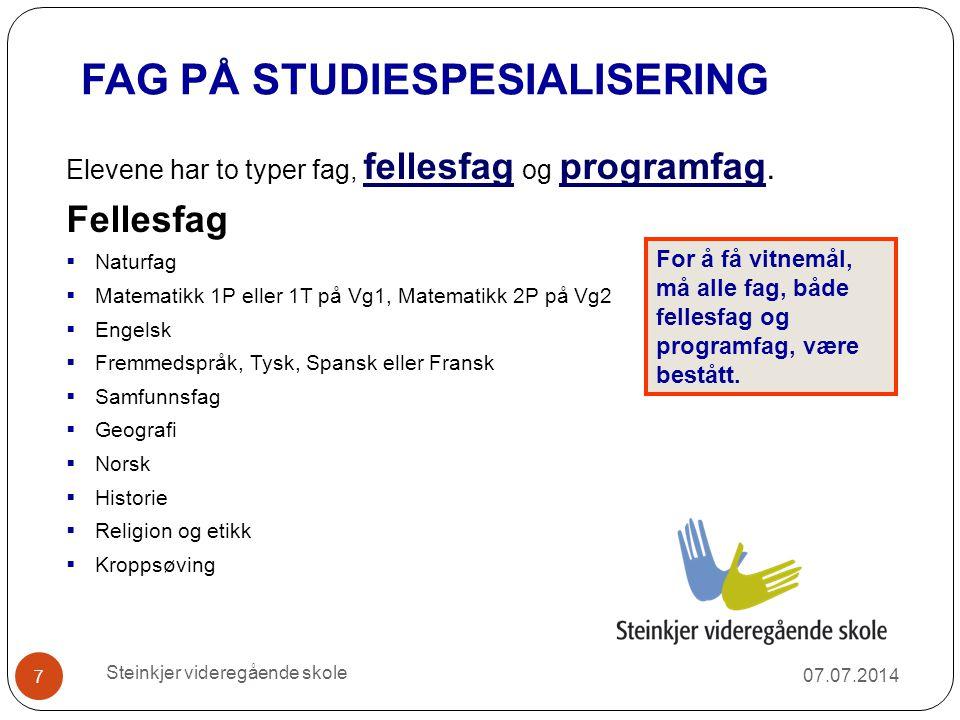 Valg av programfag 07.07.2014 18 Hovedregelen er at elever skal velge tre programfag på Vg2 og tre programfag på Vg3 (840 årstimer).
