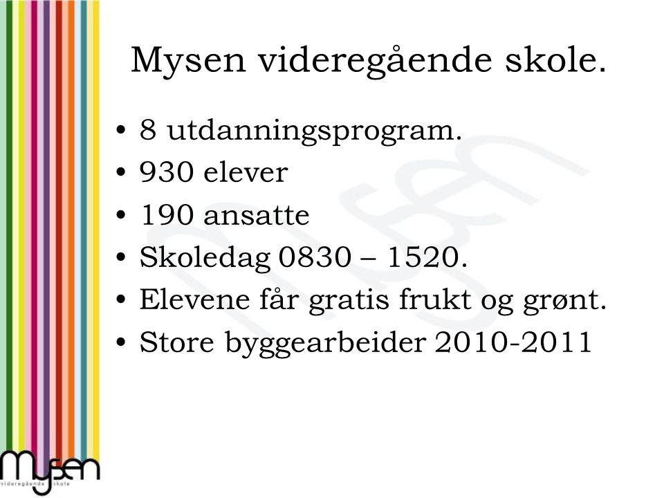 Mysen videregående skole. 8 utdanningsprogram. 930 elever 190 ansatte Skoledag 0830 – 1520. Elevene får gratis frukt og grønt. Store byggearbeider 201