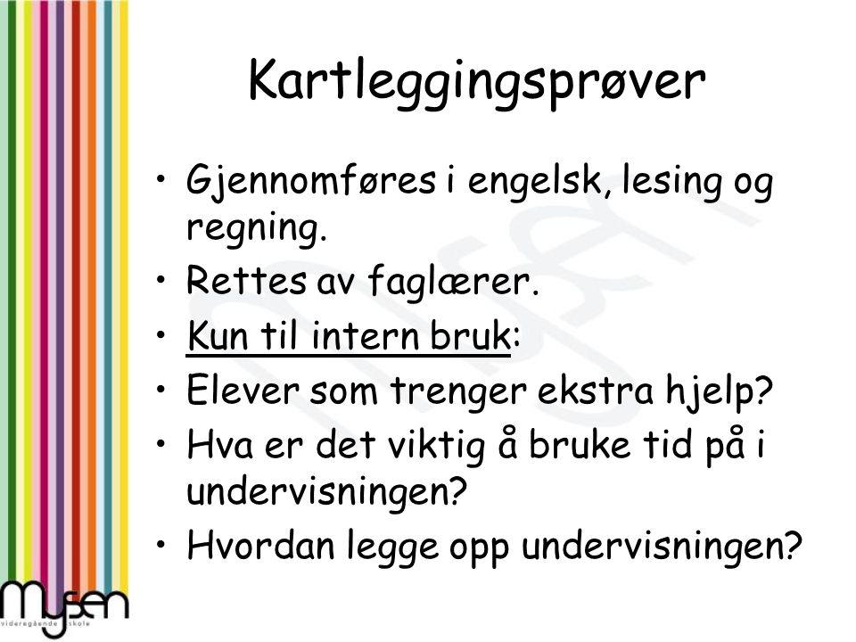 Kartleggingsprøver Gjennomføres i engelsk, lesing og regning. Rettes av faglærer. Kun til intern bruk: Elever som trenger ekstra hjelp? Hva er det vik