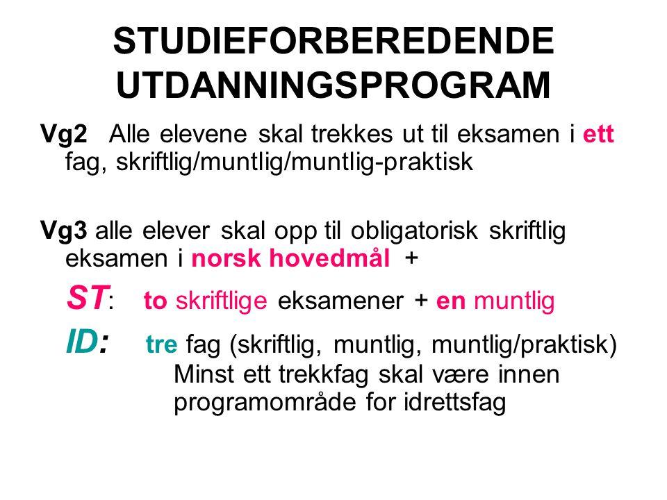 STUDIEFORBEREDENDE UTDANNINGSPROGRAM Vg2 Alle elevene skal trekkes ut til eksamen i ett fag, skriftlig/muntlig/muntlig-praktisk Vg3 alle elever skal o