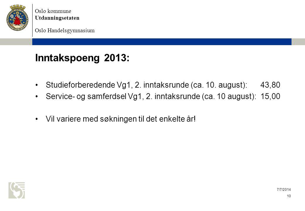 Oslo kommune Utdanningsetaten Oslo Handelsgymnasium Inntakspoeng 2013: Studieforberedende Vg1, 2. inntaksrunde (ca. 10. august): 43,80 Service- og sam