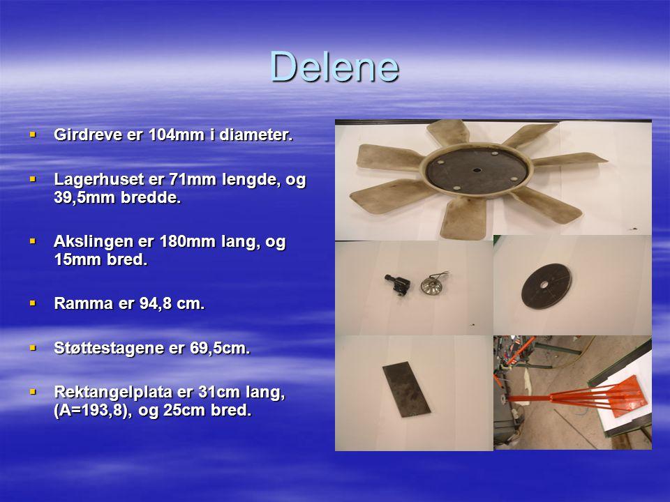 Delene  Girdreve er 104mm i diameter.  Lagerhuset er 71mm lengde, og 39,5mm bredde.  Akslingen er 180mm lang, og 15mm bred.  Ramma er 94,8 cm.  S