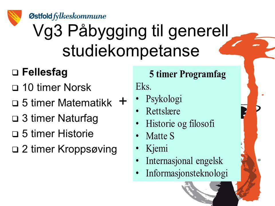 Vg3 Påbygging til generell studiekompetanse +