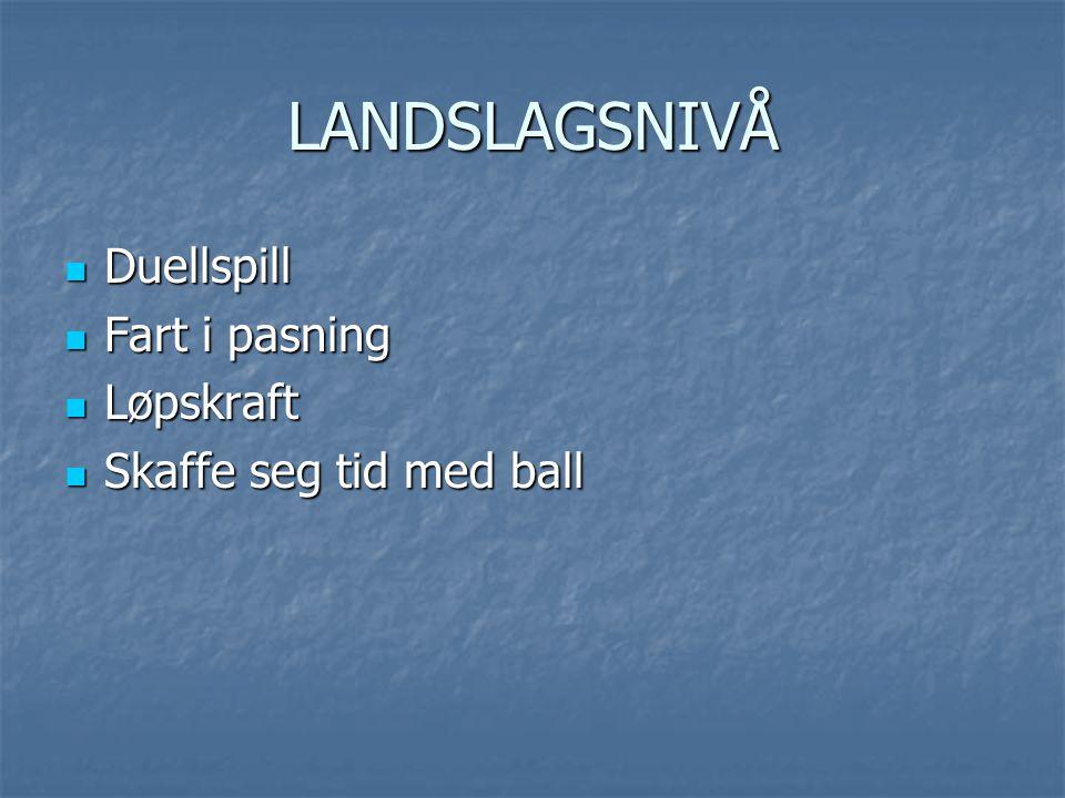 LANDSLAGSNIVÅ Duellspill Duellspill Fart i pasning Fart i pasning Løpskraft Løpskraft Skaffe seg tid med ball Skaffe seg tid med ball