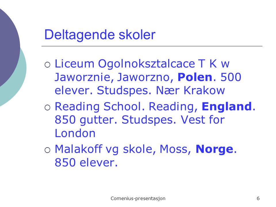 Comenius-presentasjon6 Deltagende skoler  Liceum Ogolnoksztalcace T K w Jaworznie, Jaworzno, Polen. 500 elever. Studspes. Nær Krakow  Reading School