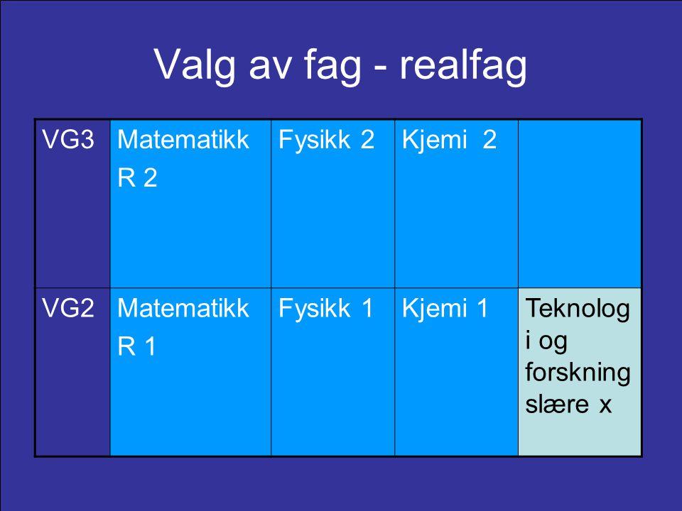 Valg av fag - realfag VG3Matematikk R 2 Fysikk 2Kjemi 2 VG2Matematikk R 1 Fysikk 1Kjemi 1Teknolog i og forskning slære x