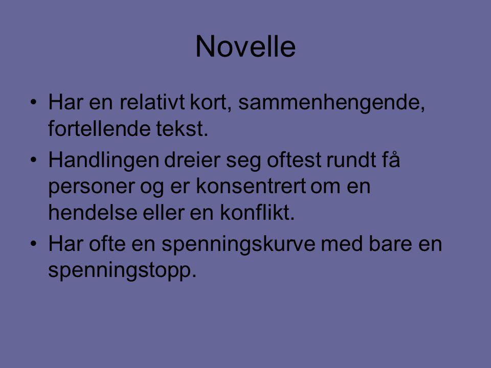 Novelle Har en relativt kort, sammenhengende, fortellende tekst. Handlingen dreier seg oftest rundt få personer og er konsentrert om en hendelse eller