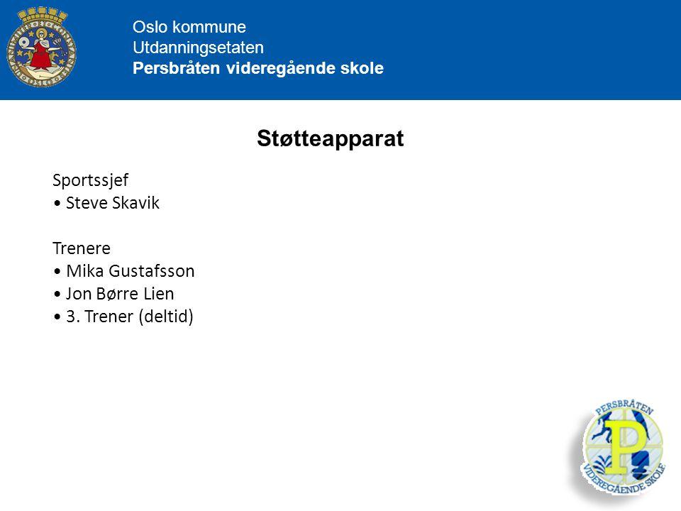 Oslo kommune Utdanningsetaten Persbråten videregående skole Støtteapparat Sportssjef Steve Skavik Trenere Mika Gustafsson Jon Børre Lien 3. Trener (de