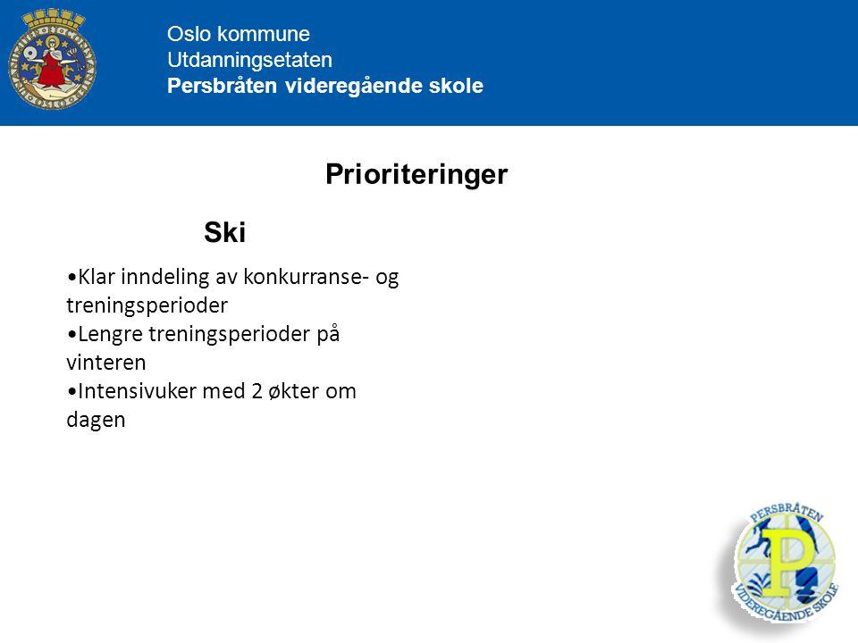 Oslo kommune Utdanningsetaten Persbråten videregående skole Prioriteringer Ski Klar inndeling av konkurranse- og treningsperioder Lengre treningsperio