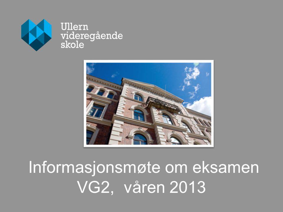 ULLERN VIDEREGÅENDE SKOLE Dette møtet fokuserer på : Nærvær Eksamen Standpunkt/sluttvurdering Klagerett