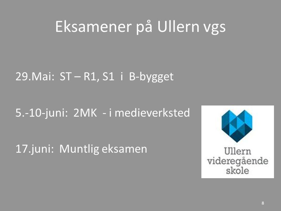 Eksamener på Ullern vgs 29.Mai: ST – R1, S1 i B-bygget 5.-10-juni: 2MK - i medieverksted 17.juni: Muntlig eksamen 8