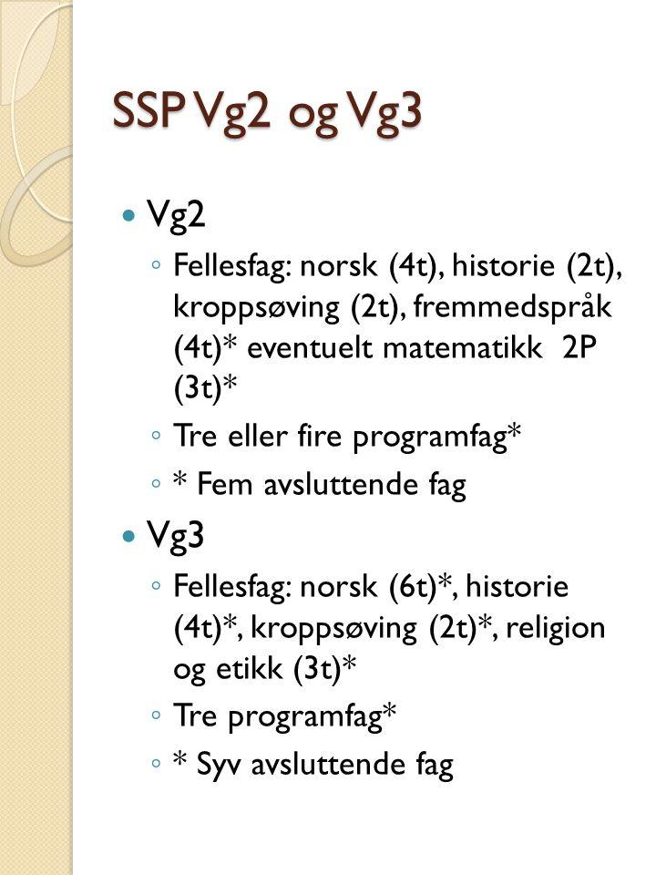 SSP Vg2 og Vg3 Vg2 ◦ Fellesfag: norsk (4t), historie (2t), kroppsøving (2t), fremmedspråk (4t)* eventuelt matematikk 2P (3t)* ◦ Tre eller fire programfag* ◦ * Fem avsluttende fag Vg3 ◦ Fellesfag: norsk (6t)*, historie (4t)*, kroppsøving (2t)*, religion og etikk (3t)* ◦ Tre programfag* ◦ * Syv avsluttende fag