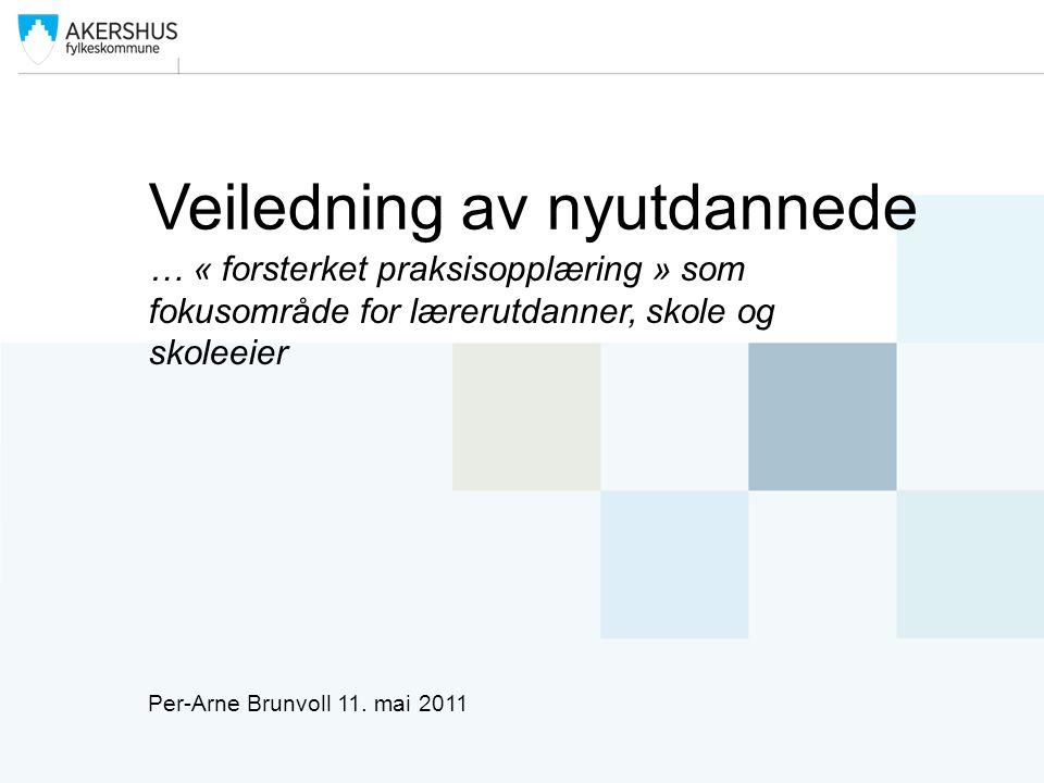 Veiledning av nyutdannede … « forsterket praksisopplæring » som fokusområde for lærerutdanner, skole og skoleeier Per-Arne Brunvoll 11. mai 2011
