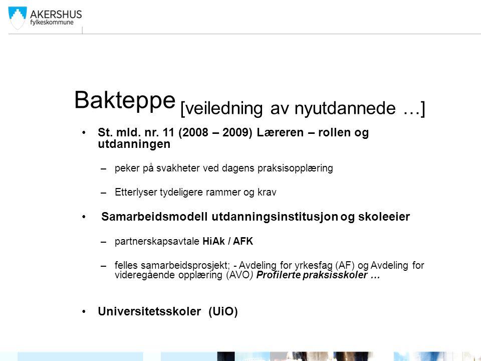 Bakteppe [veiledning av nyutdannede …] St. mld. nr. 11 (2008 – 2009) Læreren – rollen og utdanningen –peker på svakheter ved dagens praksisopplæring –