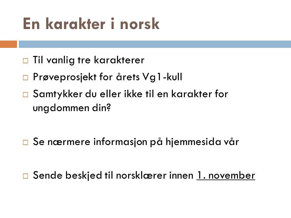 En karakter i norsk  Til vanlig tre karakterer  Prøveprosjekt for årets Vg1-kull  Samtykker du eller ikke til en karakter for ungdommen din?  Se n