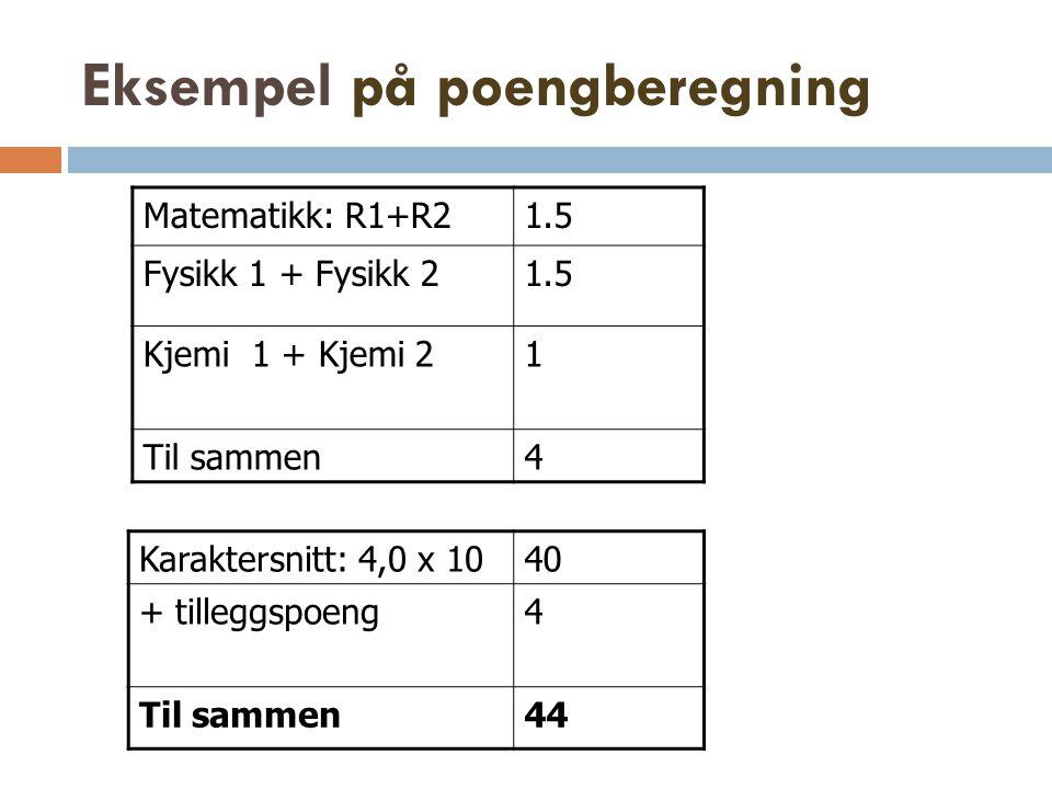 Eksempel på poengberegning Matematikk: R1+R21.5 Fysikk 1 + Fysikk 21.5 Kjemi 1 + Kjemi 21 Til sammen4 Karaktersnitt: 4,0 x 1040 + tilleggspoeng4 Til s