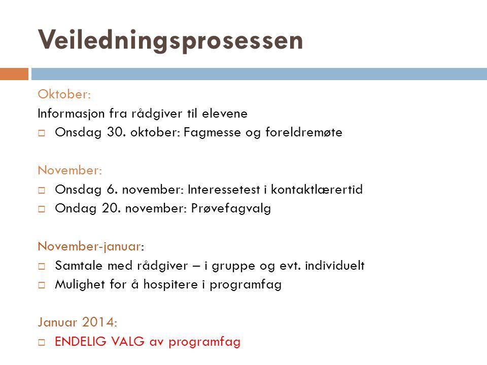 Veiledningsprosessen Oktober: Informasjon fra rådgiver til elevene  Onsdag 30. oktober: Fagmesse og foreldremøte November:  Onsdag 6. november: Inte