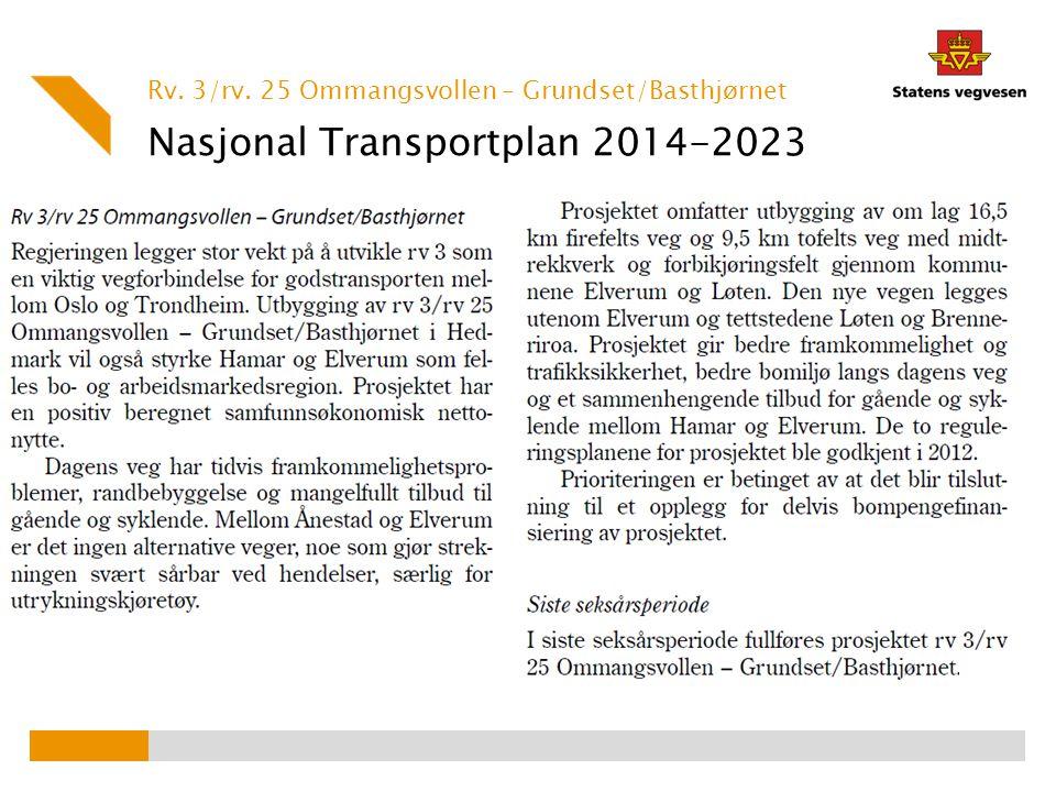 Nasjonal Transportplan 2014-2023 Rv. 3/rv. 25 Ommangsvollen – Grundset/Basthjørnet