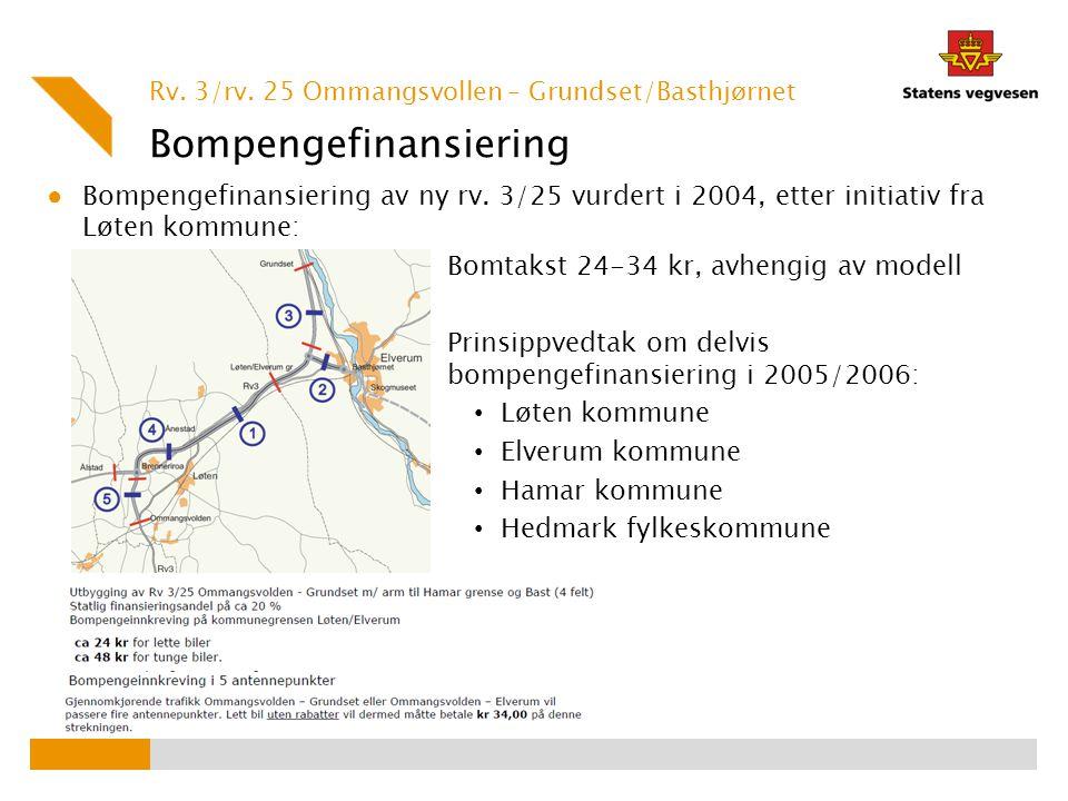 Bompengefinansiering ● Bompengefinansiering av ny rv. 3/25 vurdert i 2004, etter initiativ fra Løten kommune: Bomtakst 24-34 kr, avhengig av modell Pr