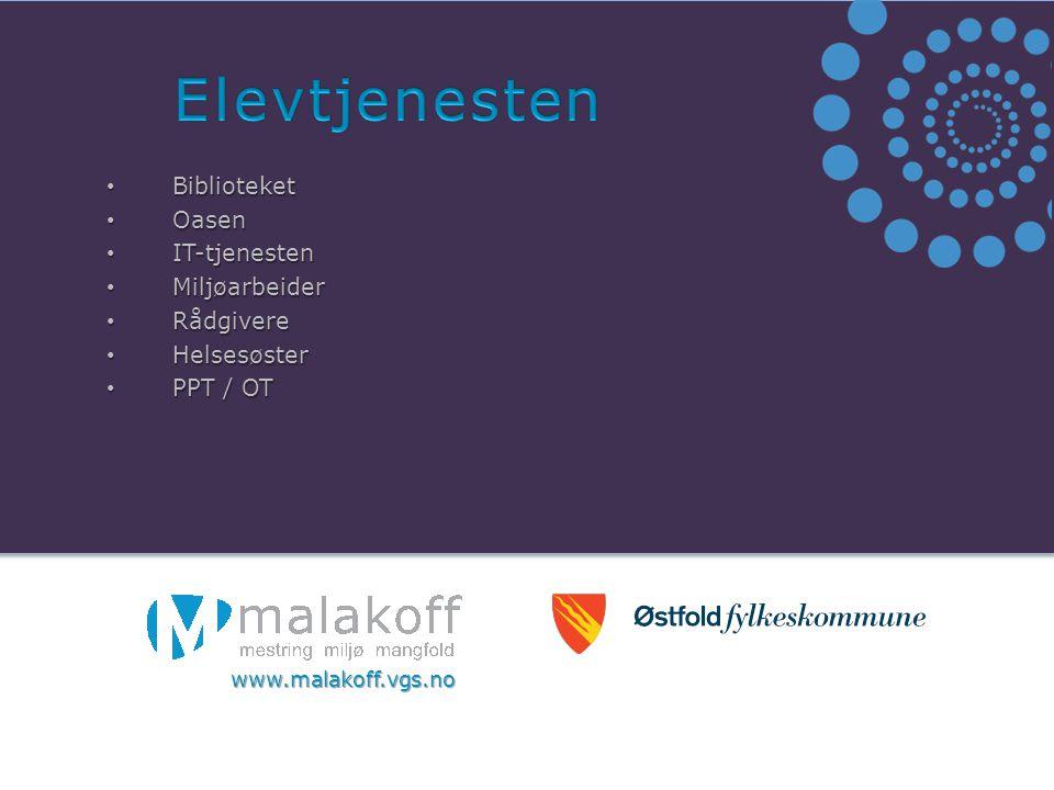 Biblioteket Biblioteket Oasen Oasen IT-tjenesten IT-tjenesten Miljøarbeider Miljøarbeider Rådgivere Rådgivere Helsesøster Helsesøster PPT / OT PPT / OT www.malakoff.vgs.no