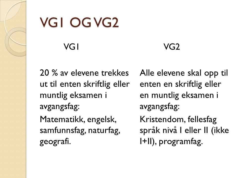 VG1 OG VG2 VG1 20 % av elevene trekkes ut til enten skriftlig eller muntlig eksamen i avgangsfag: Matematikk, engelsk, samfunnsfag, naturfag, geografi