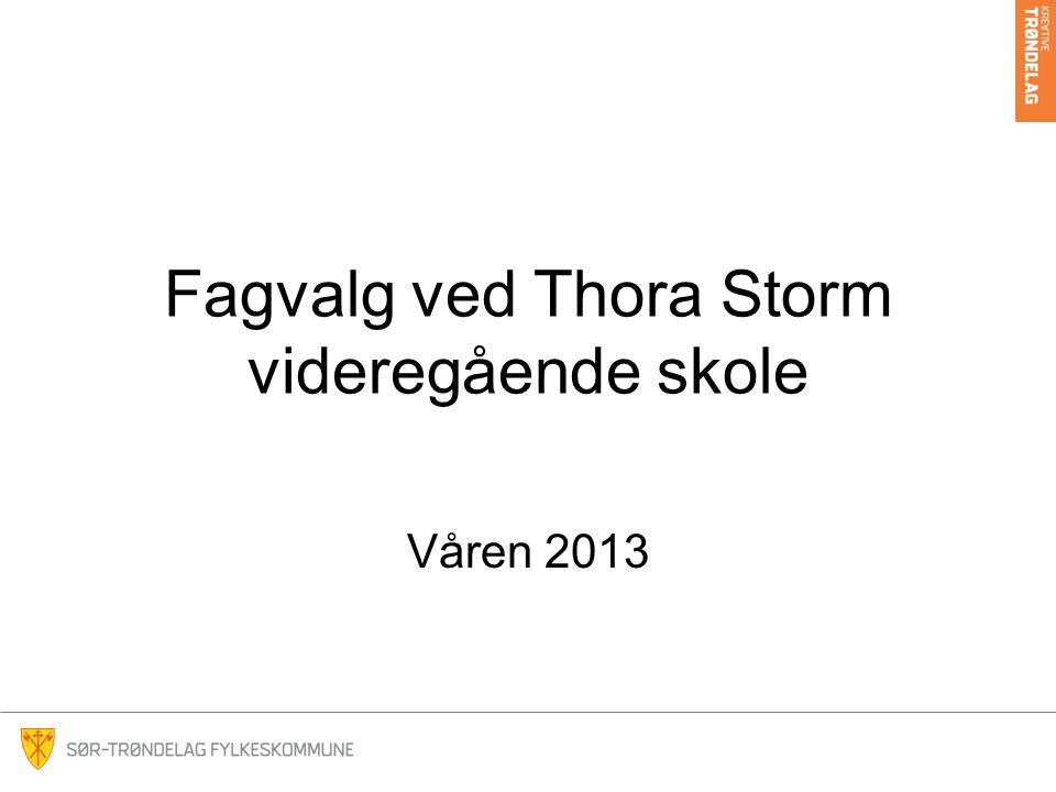 Fagvalg ved Thora Storm videregående skole Våren 2013