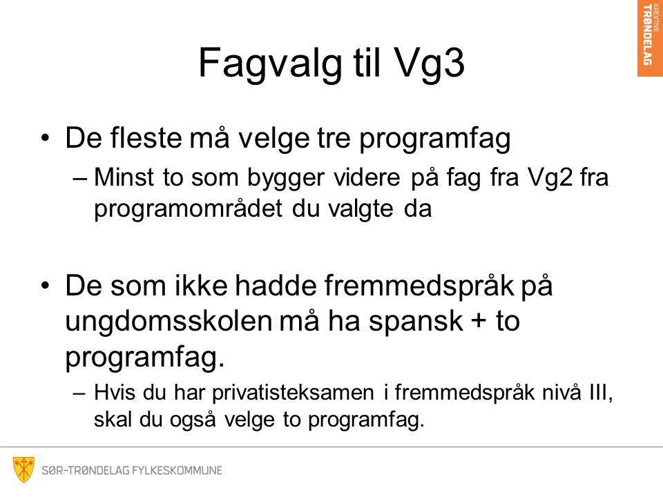 Fagvalg til Vg3 De fleste må velge tre programfag –Minst to som bygger videre på fag fra Vg2 fra programområdet du valgte da De som ikke hadde fremmed