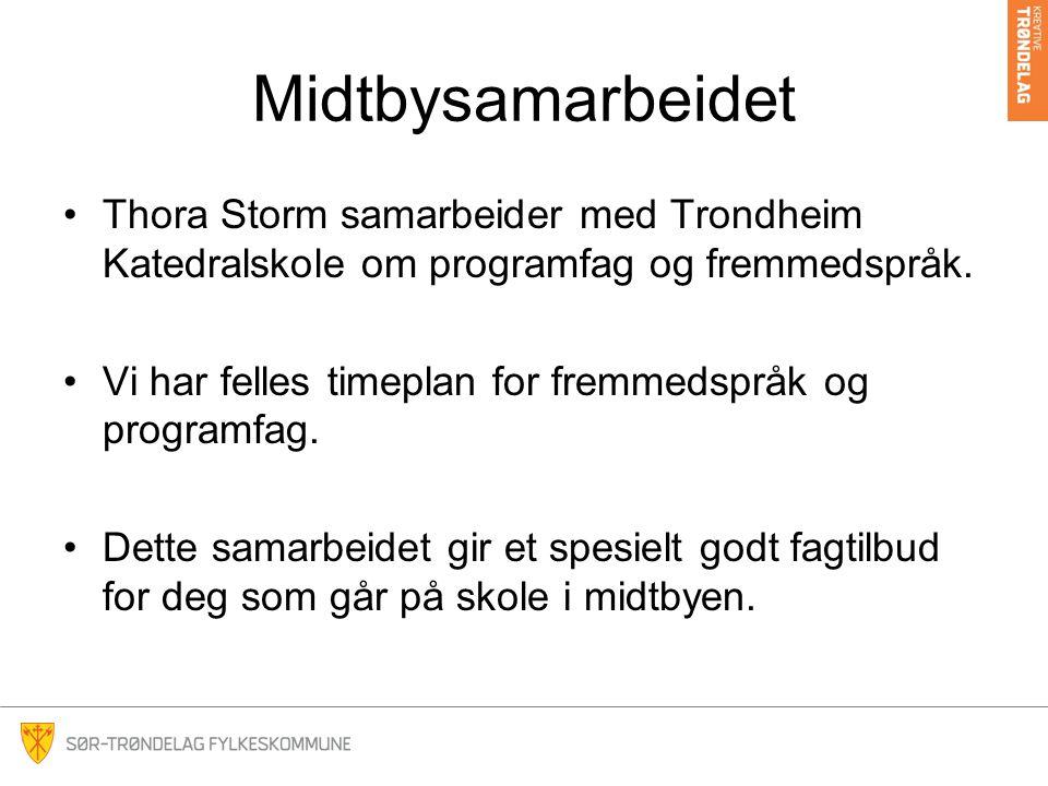 Midtbysamarbeidet Thora Storm samarbeider med Trondheim Katedralskole om programfag og fremmedspråk. Vi har felles timeplan for fremmedspråk og progra