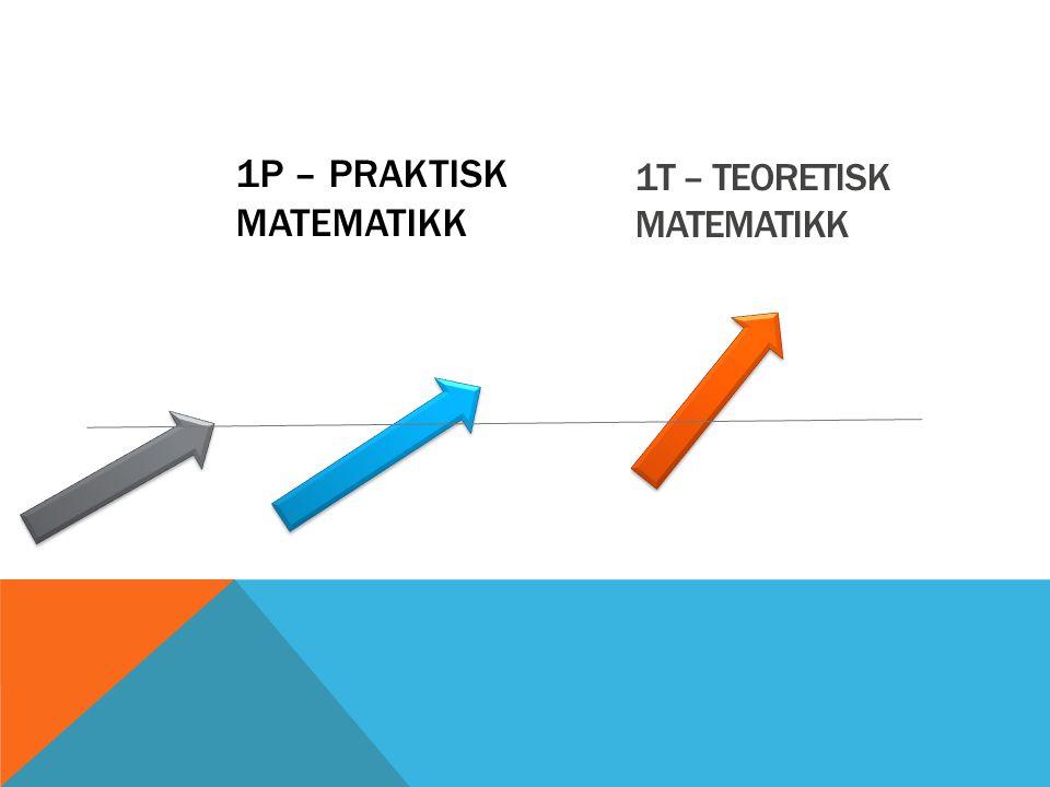 1P – PRAKTISK MATEMATIKK 1T – TEORETISK MATEMATIKK
