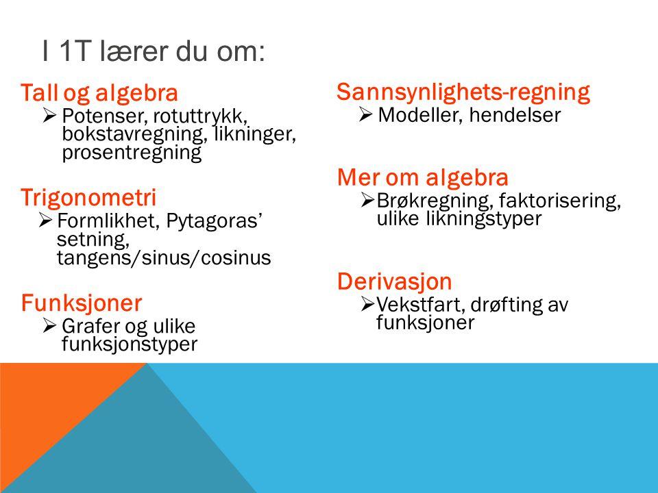 Tall og algebra  Potenser, rotuttrykk, bokstavregning, likninger, prosentregning Trigonometri  Formlikhet, Pytagoras' setning, tangens/sinus/cosinus