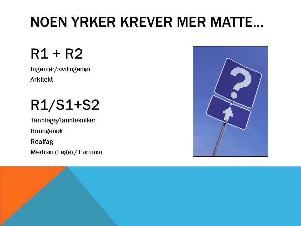 NOEN YRKER KREVER MER MATTE… R1 + R2 Ingeniør/sivilingeniør Arkitekt R1/S1+S2 Tannlege/tanntekniker Bioingeniør Realfag Medisin (Lege) / Farmasi